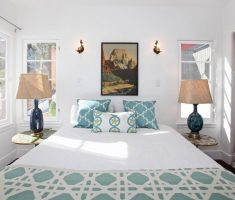 wonderfull small bedroom space with blue bedroom table lamps