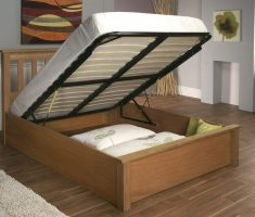 wooden bed frames with storage inside bedroom