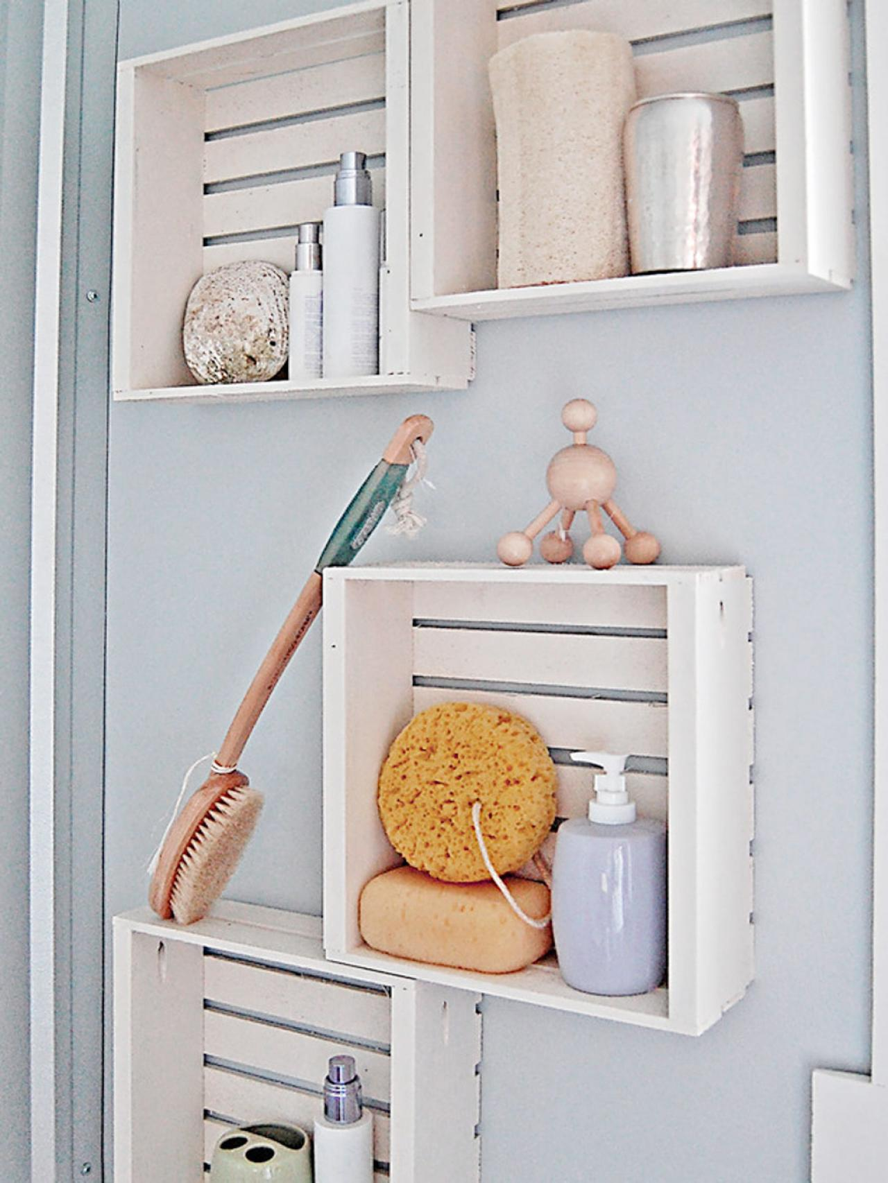 Wooden box storage bathroom for maximize your small - Small bathroom storage boxes ...