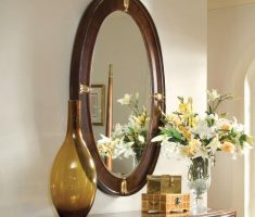 wooden framed oval bathroom mirrors for lux design