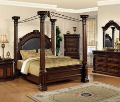 wooden queen bedroom sets with 4 pillars bedding