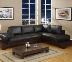 adorable black sofa for living room with wooden table