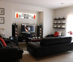 adorable leather black sofa for living room