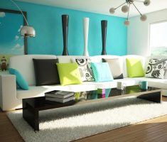 alluring modern living room with blue living room wall decor and paint combined with sofa and white rug