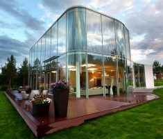 amazing modern unique house design with glass wall partition
