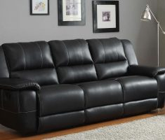 amusing leather black sofa for living room with double bed