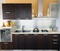 black wood small kitchen cabinet