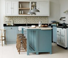 blue and grey kitchen theme with small kitchen cabinet with tiles kitchen wall