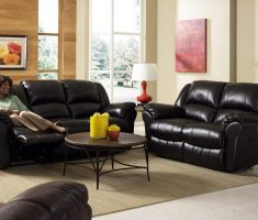 comfortable leather black sofa for living room