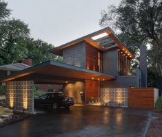 contemporary house with unique designs and sloping roof
