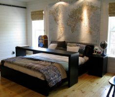 cool oak bedroom decoration furniture with map world mural wallpaper