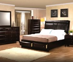 cozy black oak bedroom decoration furniture with white rug