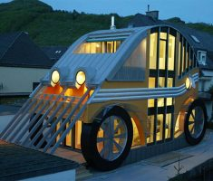 creative house with unique car shape for small house designs