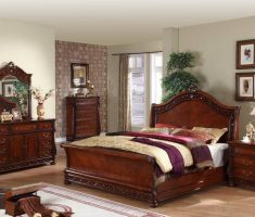 elegant oak bedroom decoration furniture with floral carving and furnishing