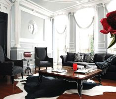 elegant long black sofa for living room with grey themed