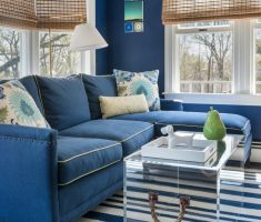enchanting blue living room with blue sofa and blue white stripes carpet