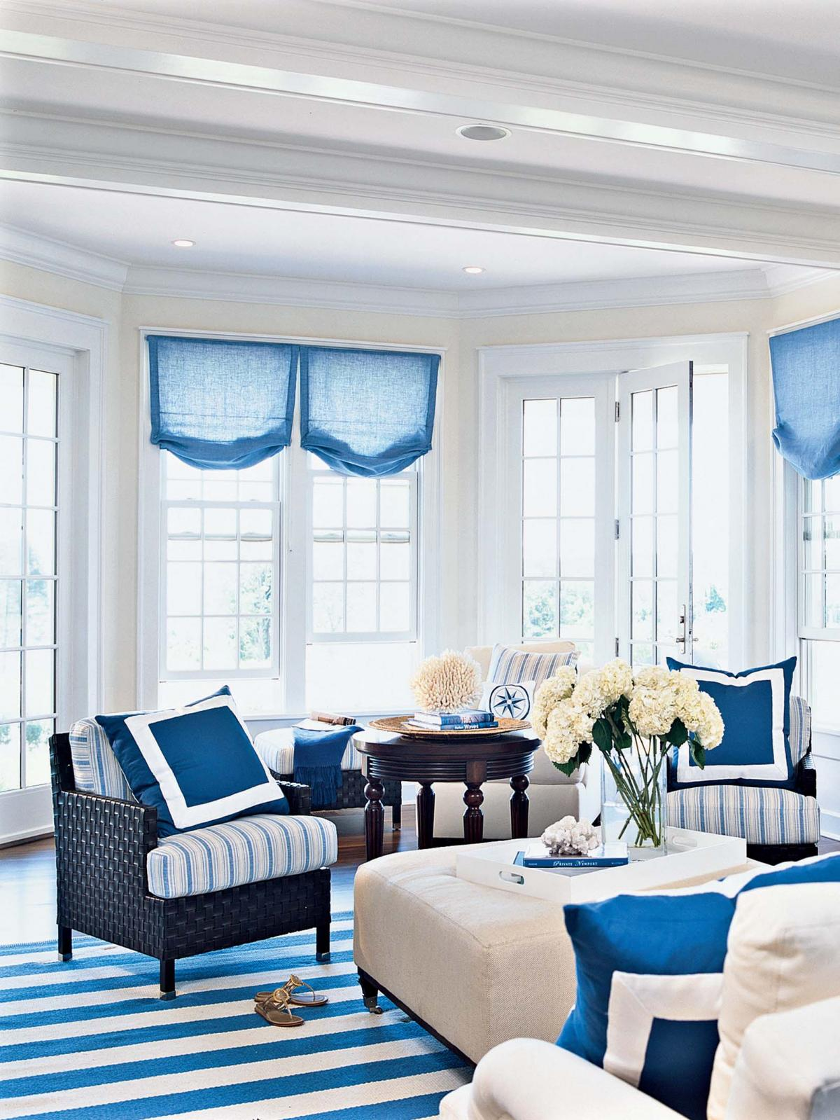 Enchanting blue living room inspirations Black white blue living room
