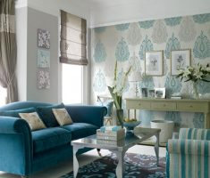fabulous blue living room decoration and furniture with mural wallpaper