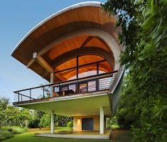 fascinating unique cabin with half circular shaped for modern residence