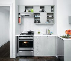 grey small kitchen cabinet design for small kithcen