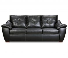 lux leather black sofa for living room 3 part