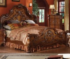 luxurious oak bedroom decoration furniture with floral carving
