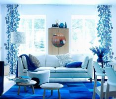 mesmerizing blue living room decor combined with white sofa furniture