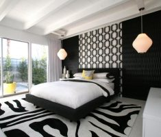 modern black and whtie bedroom with oak bedroom decoration furniture