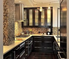 modern black elegant u shaped kitchen for small space