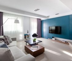 modern living room with blue living room wall paint