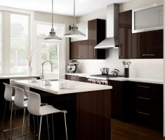 modern luxurious small kitchen design with small kitchen cabinet and brown and white themed colours