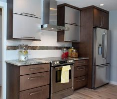 modern small kitchen remodelling with wooden small kitchen cabinet