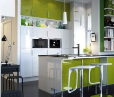 modern small kitchen with small kitchen cabinet green and white themes