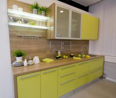 narrow kitchen space with small kitchen cabinet