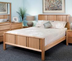 neat oak bedroom decoration furniture with minimalist design