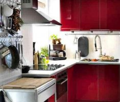 red small kitchen cabinet design