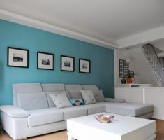 simple blue living room wall decor