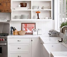 small kitchen design with white wooden and small kitchen cabinet