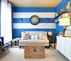 small living room with blue living room decoration wall