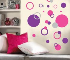 admirable pink purple polka dot wall decals