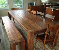 adorable farmhouse dining table reclaimed with bench and chairs