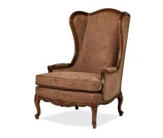 alluring brown high back chair with floral embossed
