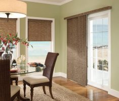 alluring brown curtain for window treatments for sliding glass doors