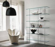 alluring glass and metal wall mount shelf design