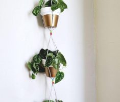 alluring hanging modern garden pots with copper materials