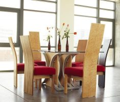 alluring high back dining chair with soft red cushion