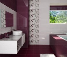 alluring maroon bathroom tiles with floral decor wall