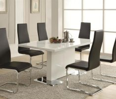 alluring modern chair design with black colour wtih white ceramic kitchen table