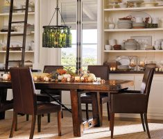 alluring modern farmhouse dining table with diy bottle chandelier