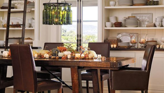 alluring-modern-farmhouse-dining-table-with-diy-bottle-chandelier